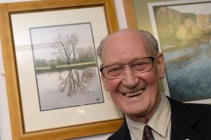 My Grandpa, pictured in 2007 with the first painting he had accepted into the Three Counties Open Art Exhibition at Keele University
